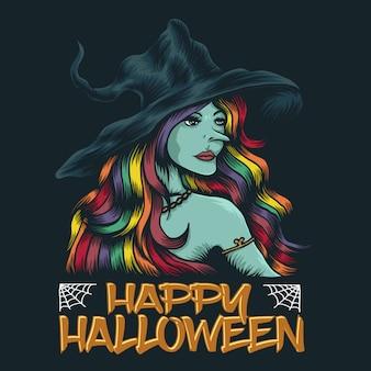Jovem bruxa feliz dia das bruxas