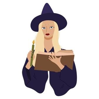 Jovem bruxa lança um feitiço e segurando a vela de grenn. caráter esotérico e místico. ilustração em vetor mão desenhada.