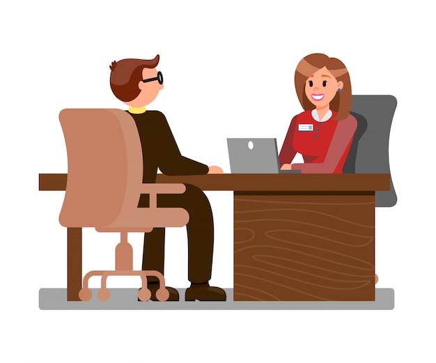Jovem candidato na ilustração plana de entrevista de emprego