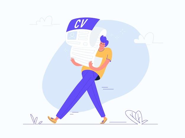 Jovem carregando um formulário cv preenchido pesado para hr. ilustração em vetor conceito moderno plana do fardo de procurar um emprego e ser um empregado. design casual de pessoas em fundo branco