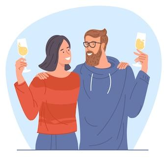 Jovem casal a tilintar de vidro
