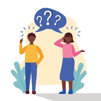 Jovem casal afro duvidando com pontos de interrogação no design de ilustração vetorial de bolha do discurso