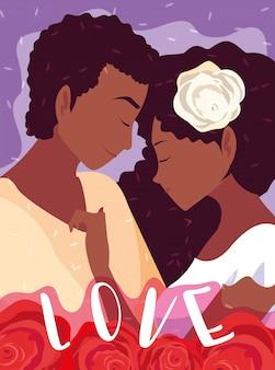 Jovem casal afro em cartaz de amor com decoração de rosas