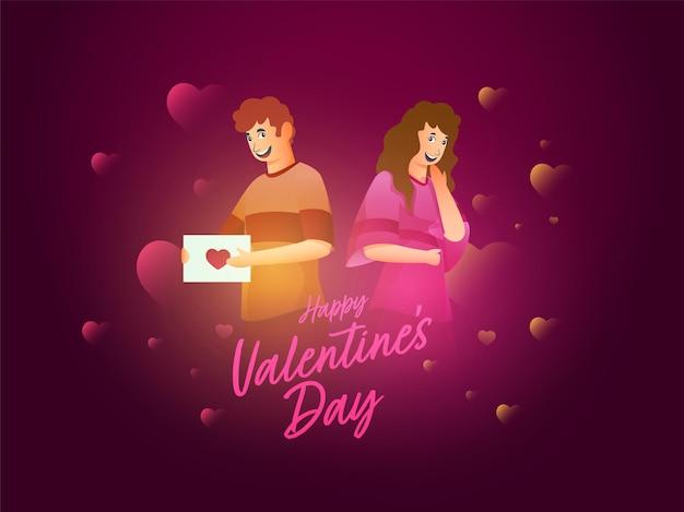 Jovem casal alegre com carta de amor e corações decorados em fundo roxo para feliz dia dos namorados.