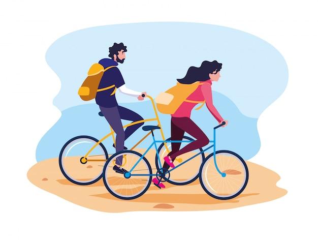 Jovem casal andando de bicicleta avatar personagem