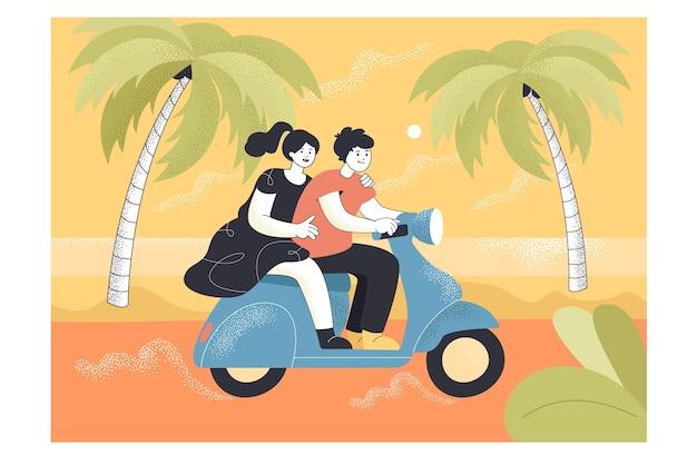 Jovem casal andando de ciclomotor na estrada à beira-mar. homem e mulher felizes em uma scooter em uma viagem de ilustração plana