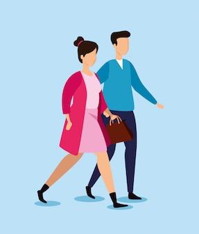 Jovem casal andando de personagens de avatar