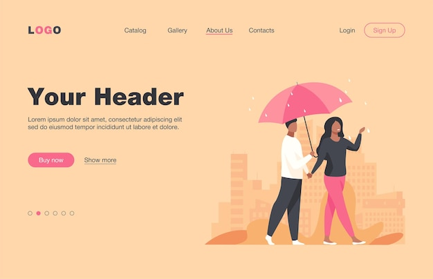Jovem casal andando sob o guarda-chuva em dia chuvoso. cidade, data, ilustração plana de rua. projeto do site ou página de destino do conceito de clima e estilo de vida urbano