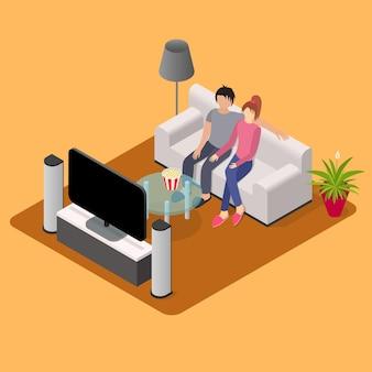 Jovem casal apaixonado assistindo tv com vista isométrica na sala de estar interna