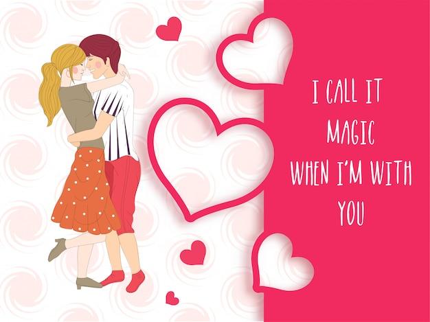 Jovem casal apaixonado, feliz dia dos namorados cartão.