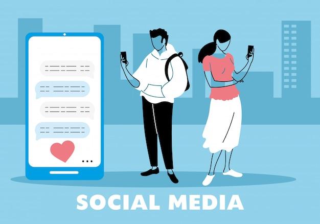 Jovem casal apaixonado, mensagens de texto no celular