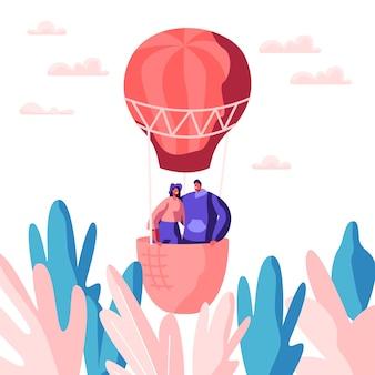 Jovem casal apaixonado voar balão de ar no céu. homem mulher desfrute romântico juntos. amantes felizes passam o tempo de lazer ao ar livre. namorado fofo abraço garota amada. ilustração em vetor plana dos desenhos animados