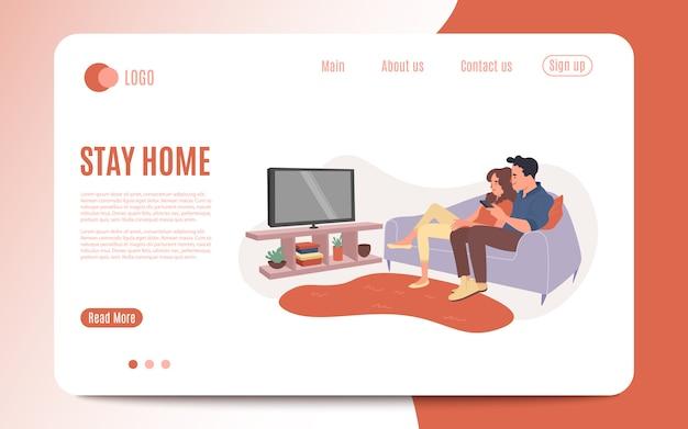 Jovem casal assiste tv juntos. homem feliz e mulher sentada no sofá e assistindo o programa de televisão. noite de cinema em família, amantes personagem em casa relaxar e assistir ao vídeo. ilustração