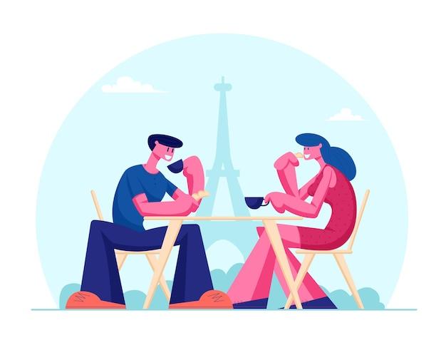 Jovem casal bebendo café no café ao ar livre em paris com vista para a torre eiffel. ilustração plana dos desenhos animados