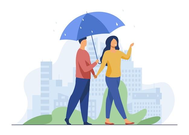 Jovem casal caminhando sob o guarda-chuva em dia chuvoso. cidade, data, ilustração vetorial plana de rua. clima e estilo de vida urbano