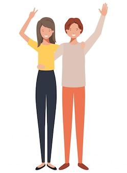 Jovem casal com as mãos para cima personagem de avatar