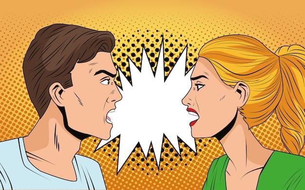 Jovem casal com raiva de personagens estilo pop art