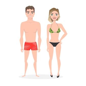 Jovem casal com roupas de praia.
