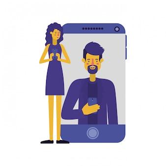 Jovem casal com smartphone