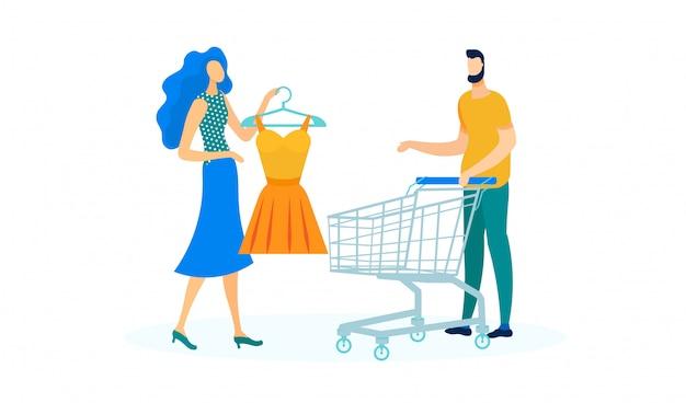 Jovem casal comprando vestido ilustração