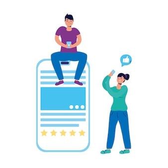 Jovem casal conversando com smartphones.