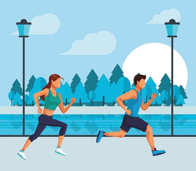 Jovem casal correndo atletas sobre os personagens da cidade