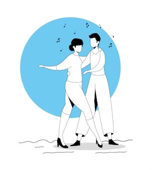 Jovem casal dançando ícone de personagem de avatar