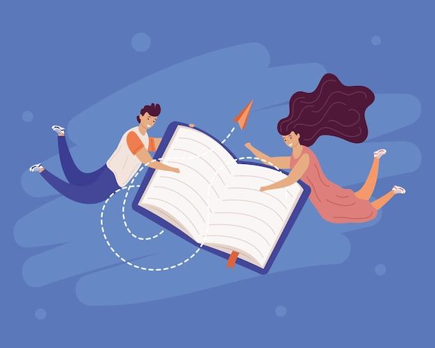 Jovem casal de leitores com livro e avião de papel voando design de ilustração