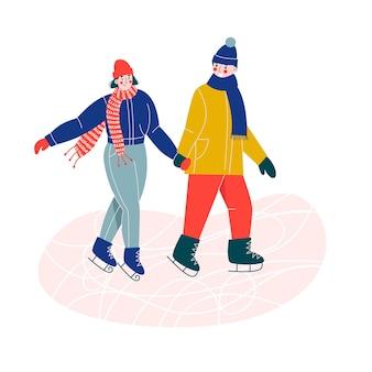 Jovem casal de mulher e homem patinando no gelo juntos na pista de gelo, de mãos dadas.