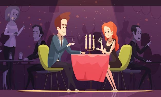 Jovem casal em uma ilustração de restaurante