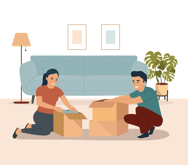 Jovem casal embalando coisas em caixas juntos na sala de estar. ilustração vetorial