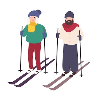 Jovem casal esquiando juntos