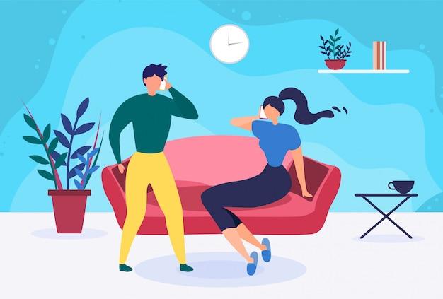 Jovem casal falando telefone em casa dos desenhos animados