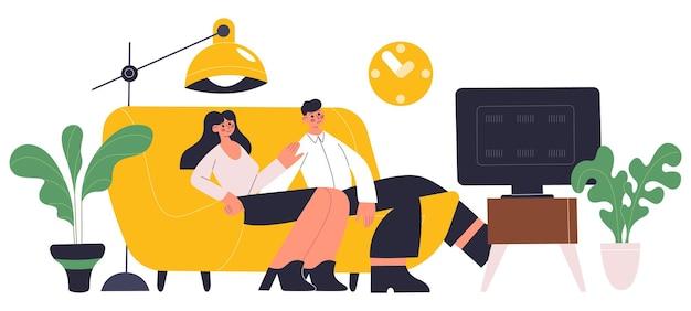 Jovem casal familiar descansando em um sofá confortável na sala de estar. casal passando um tempo juntos, assistindo tv no sofá confortável ilustração vetorial. pessoas relaxando no sofá. alguns jovens em casa