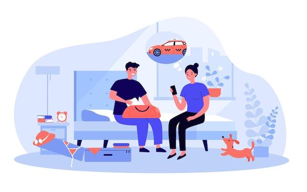 Jovem casal fazendo malas em ilustração vetorial plana de mar. homem e mulher sentados no sofá e pedindo um táxi por meio de aplicativo móvel. férias, viagem em família, viagem de verão, conceito de interior de casa