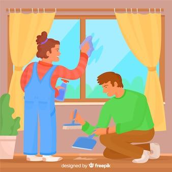 Jovem casal fazendo trabalhos domésticos