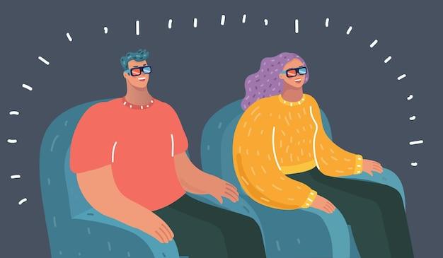 Jovem casal feliz assistindo tv