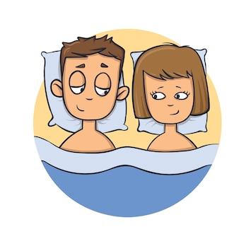 Jovem casal feliz na cama