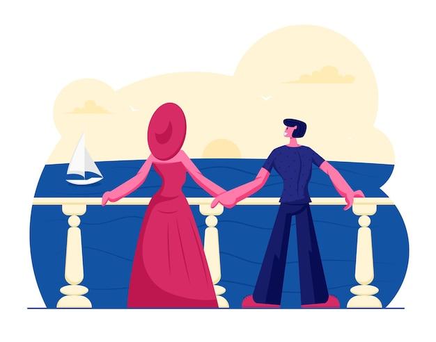 Jovem casal fica no terraço ao ar livre, olhando a bela vista do mar com o barco à vela flutuante. ilustração plana dos desenhos animados