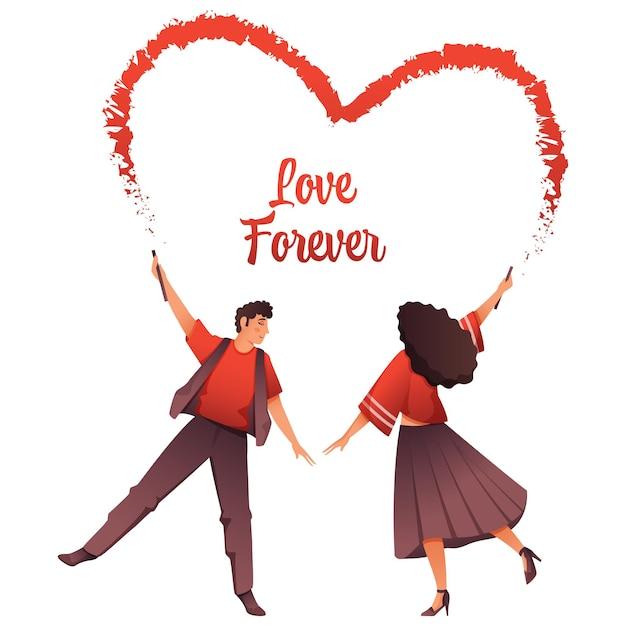 Jovem casal formando um coração de ginástica com pintura em bastão no fundo branco para o amor para sempre conceito Vetor Premium
