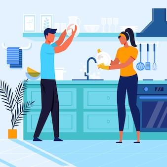 Jovem casal lavando louça ilustração vetorial