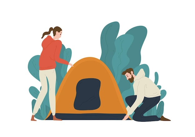 Jovem casal montando uma barraca no acampamento. par de turistas engraçados fofos isolados no branco