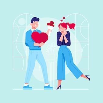 Jovem casal na ilustração de amor