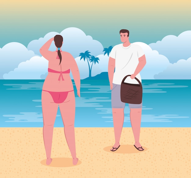 Jovem casal na praia, cara e sua namorada na praia, temporada de férias de verão