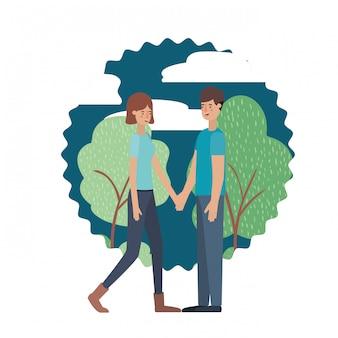 Jovem casal no personagem avatar de paisagem