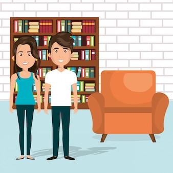 Jovem casal nos personagens de avatares da biblioteca