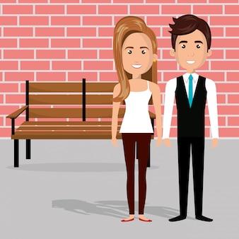 Jovem casal nos personagens de avatares de cadeira