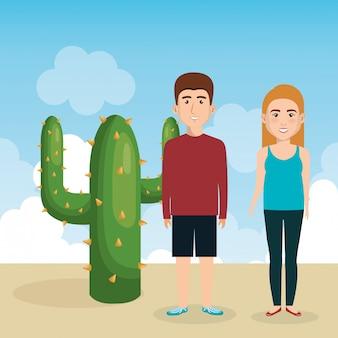 Jovem casal nos personagens de avatares de paisagem
