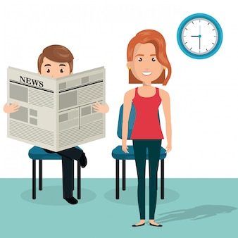 Jovem casal nos personagens de avatares de sala de espera