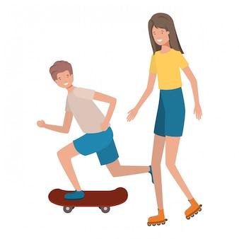 Jovem casal praticando personagem de avatar de esportes